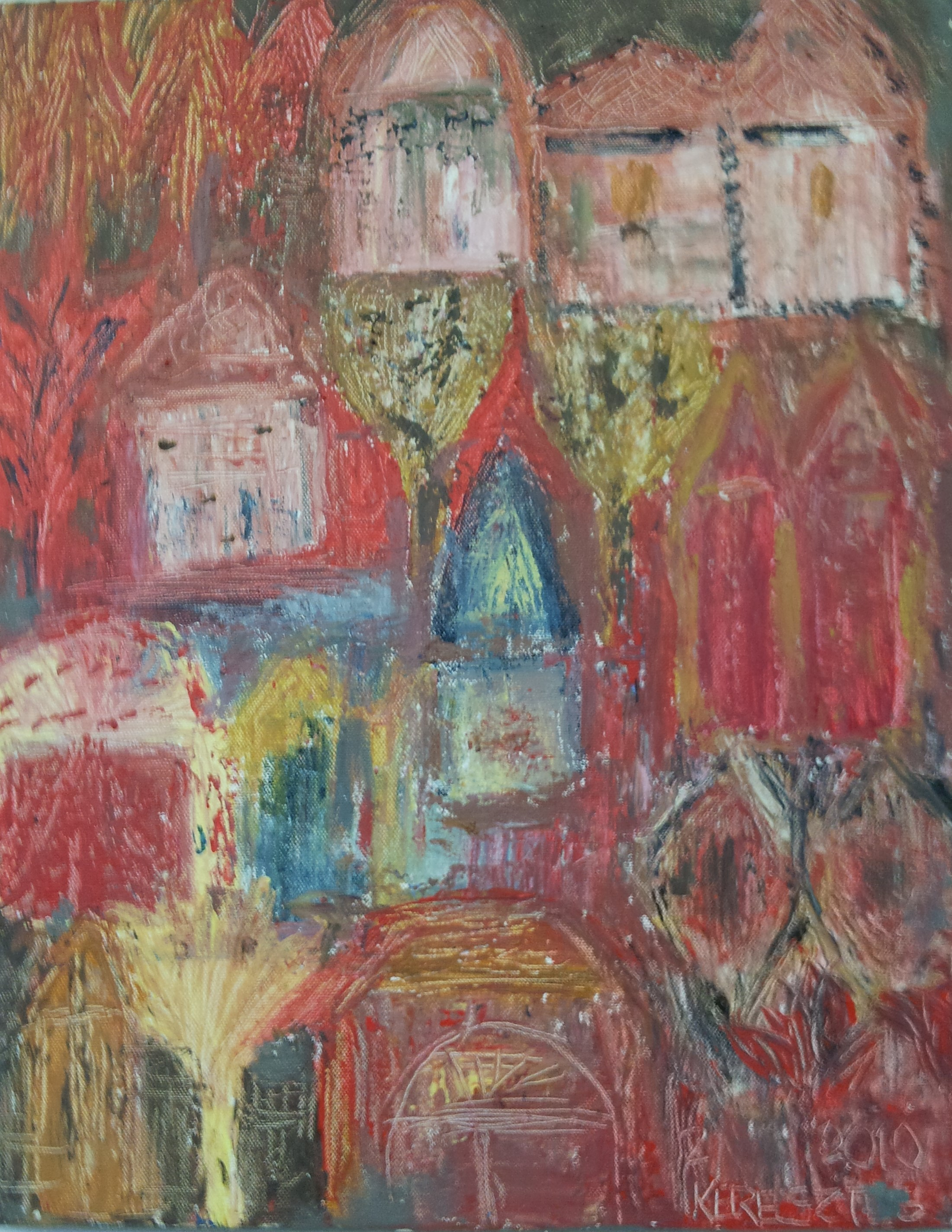toile le village feerique magdalena keresztes artiste peintre amiens. Black Bedroom Furniture Sets. Home Design Ideas