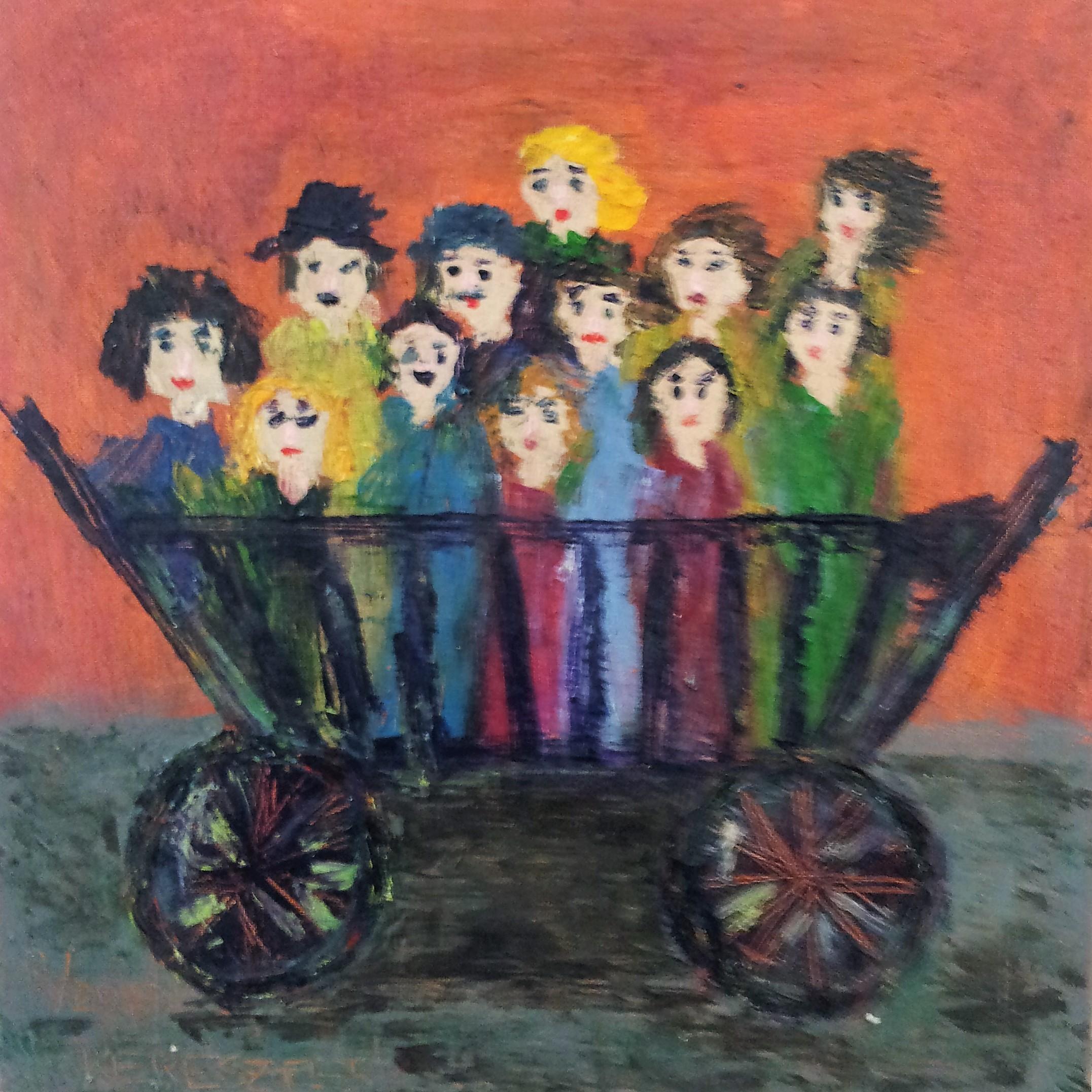toile en route pour la fete - magdalena keresztes, artiste peintre à