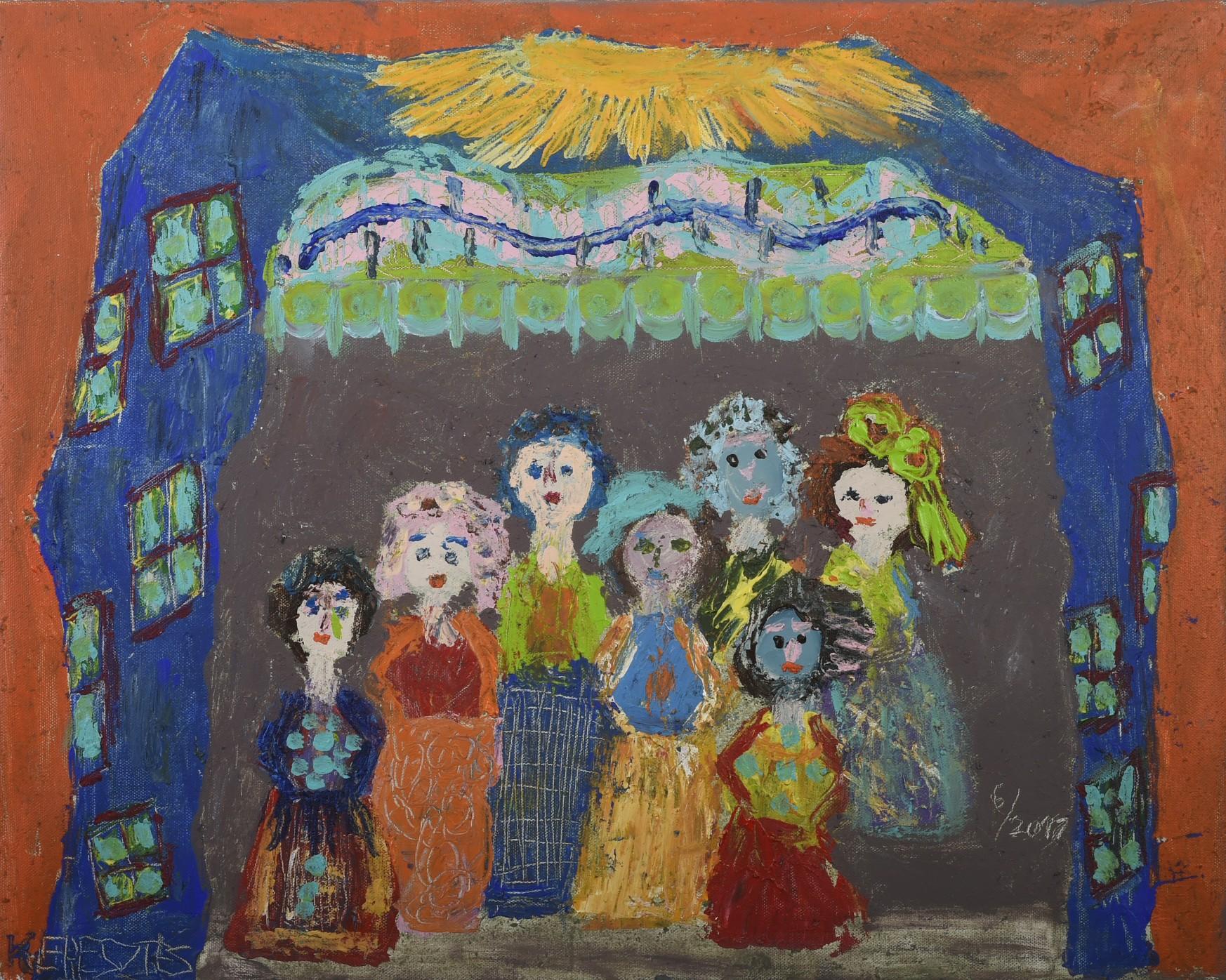 toile dans la maison bleue - magdalena keresztes, artiste peintre à