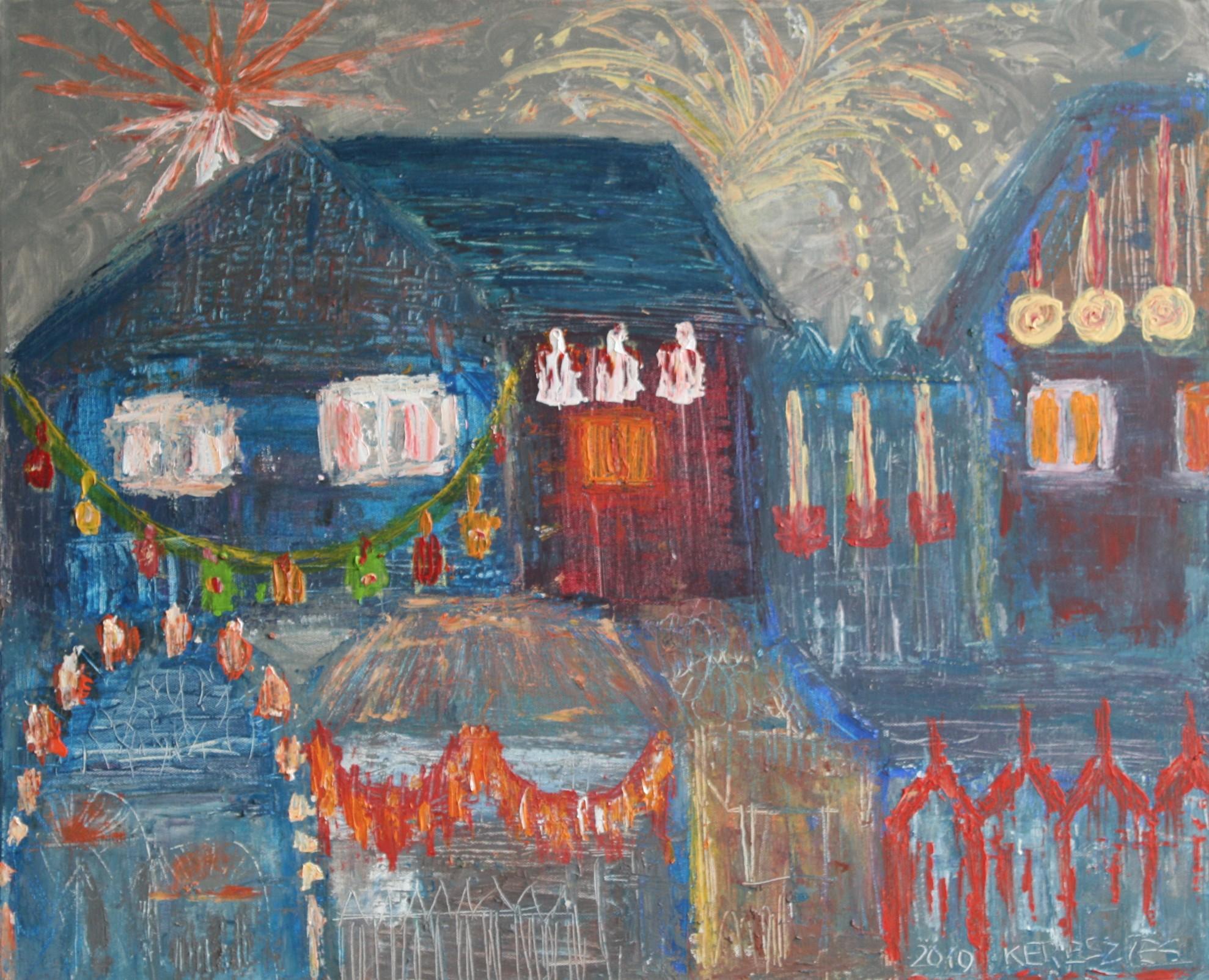toile fete dans la ville - magdalena keresztes, artiste peintre à amiens