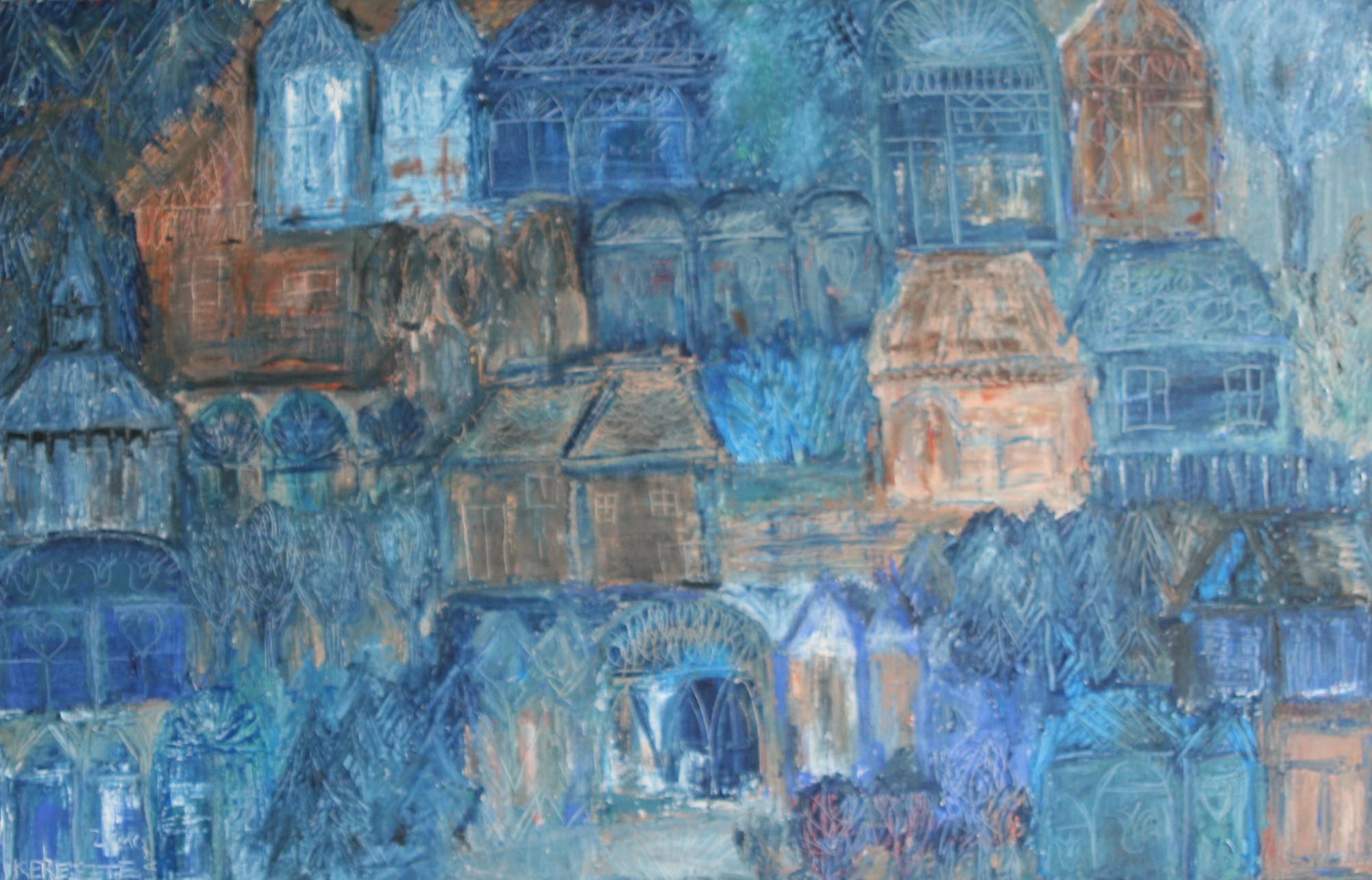 toile le pays bleu - magdalena keresztes, artiste peintre à amiens