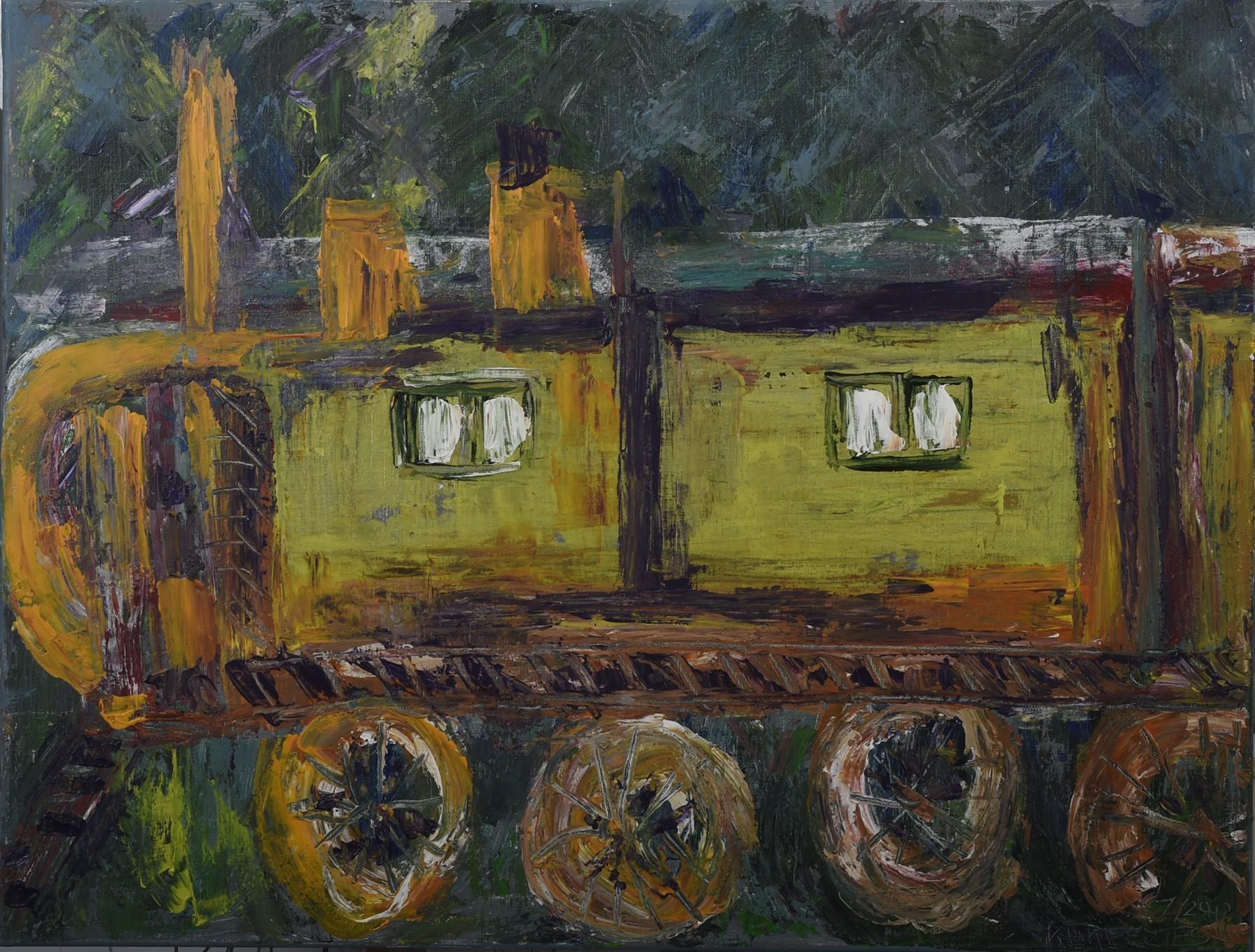 toile train jaune - magdalena keresztes, artiste peintre à amiens